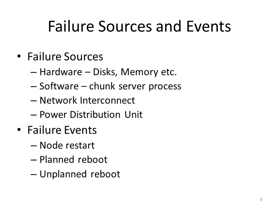 Failure Sources and Events