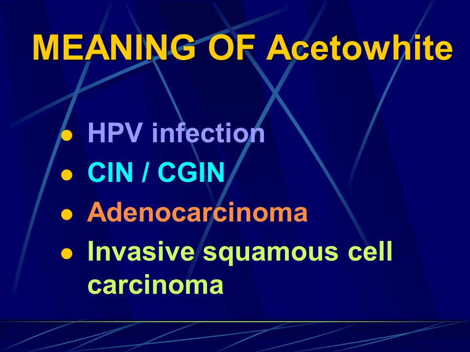 MEANING OF Acetowhite HPV infection CIN / CGIN Adenocarcinoma