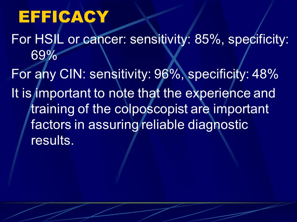 EFFICACY For HSIL or cancer: sensitivity: 85%, specificity: 69%
