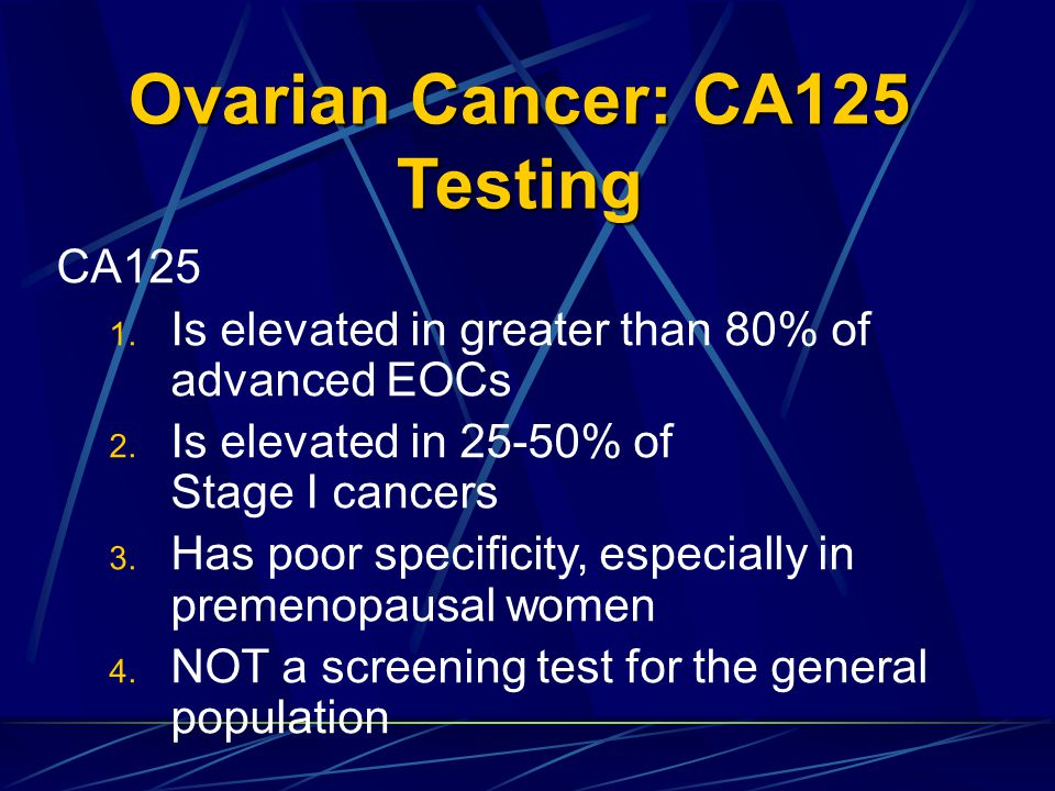 Ovarian Cancer: CA125 Testing