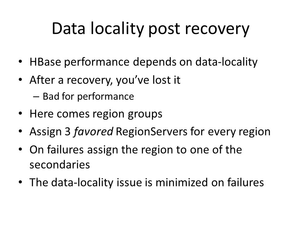 Data locality post recovery