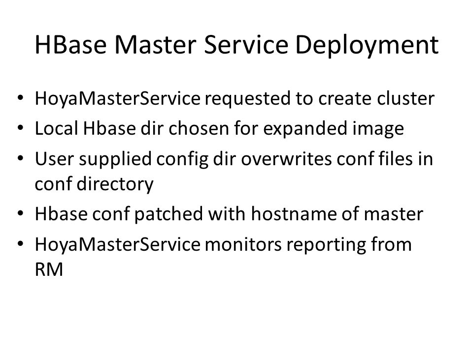 HBase Master Service Deployment