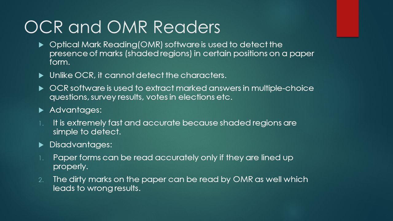 OCR and OMR Readers