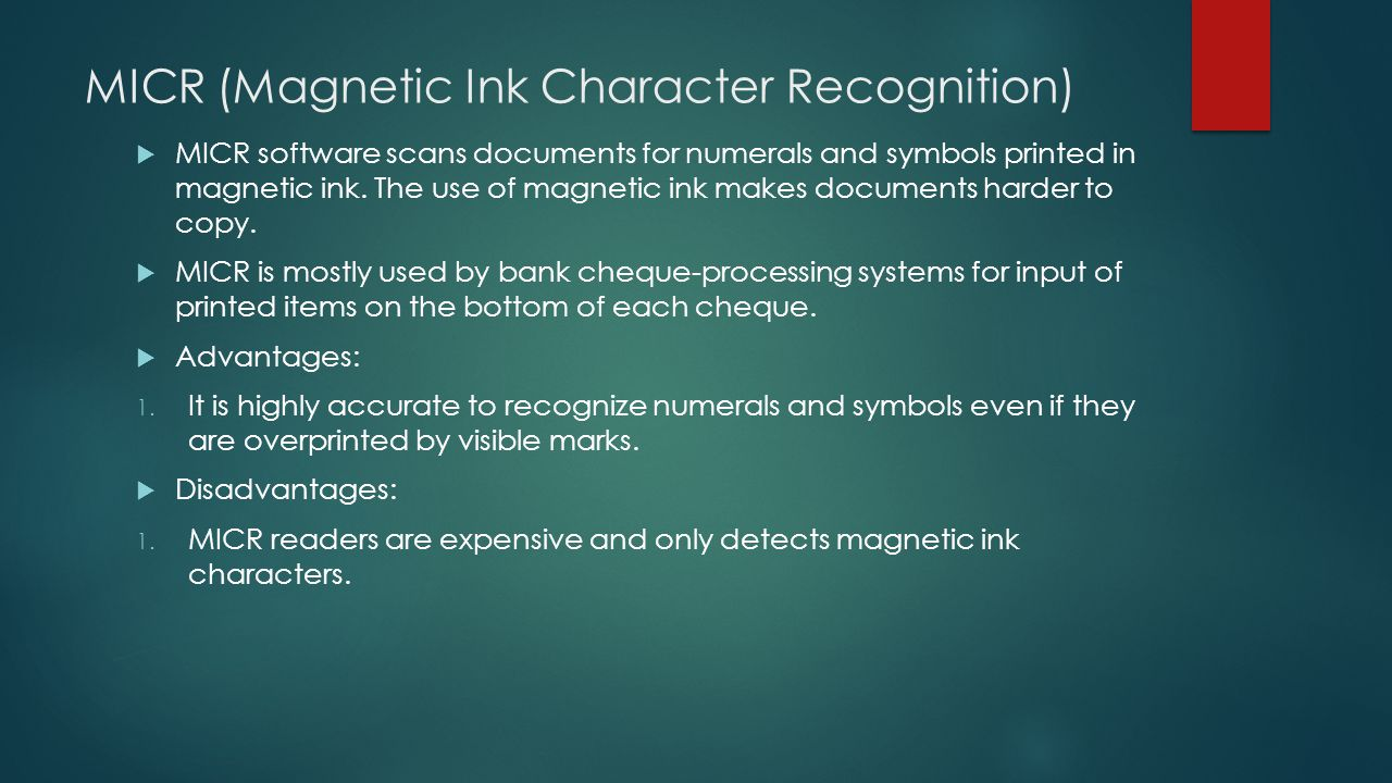 MICR (Magnetic Ink Character Recognition)