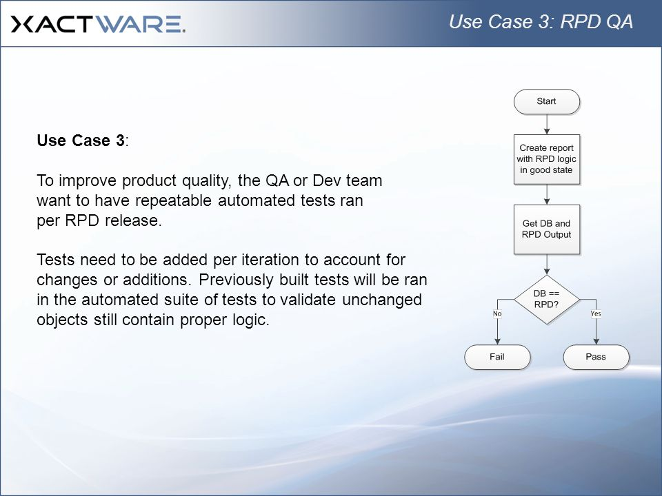 Use Case 3: RPD QA Use Case 3: