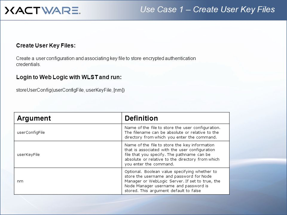 Use Case 1 – Create User Key Files
