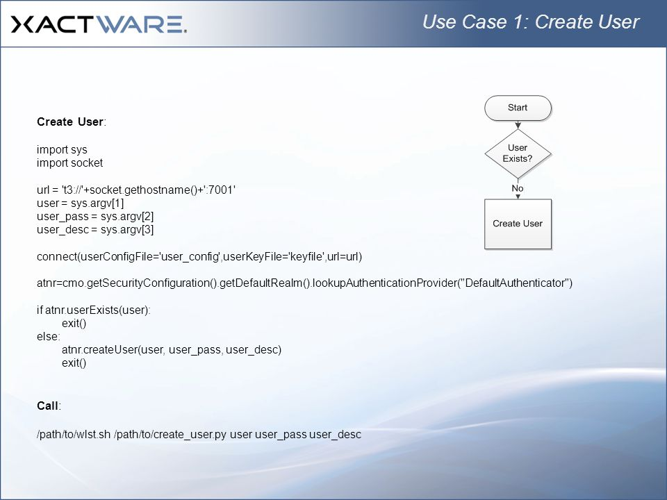 Use Case 1: Create User Create User: Call: import sys import socket