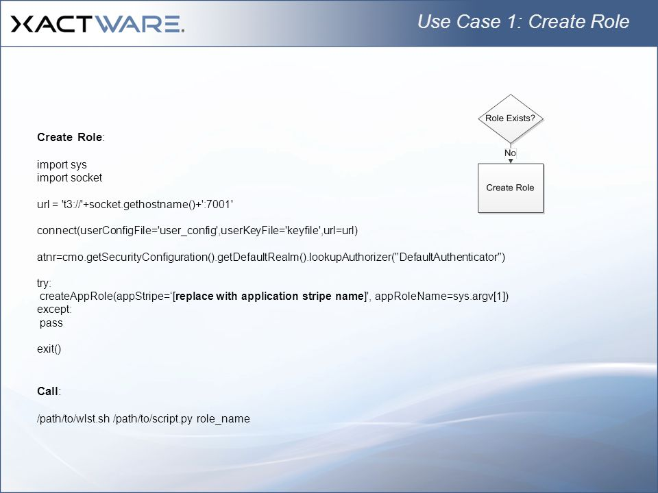Use Case 1: Create Role Create Role: Call: import sys import socket