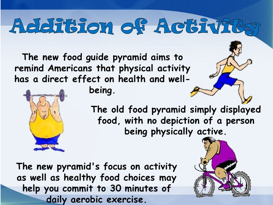 Addition of Activity The new food guide pyramid aims to remind Americans that physical activity has a direct effect on health and well-being.