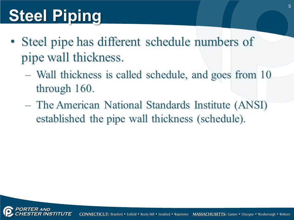 Steel Piping Steel pipe has different schedule numbers of pipe wall thickness. Wall thickness is called schedule, and goes from 10 through 160.