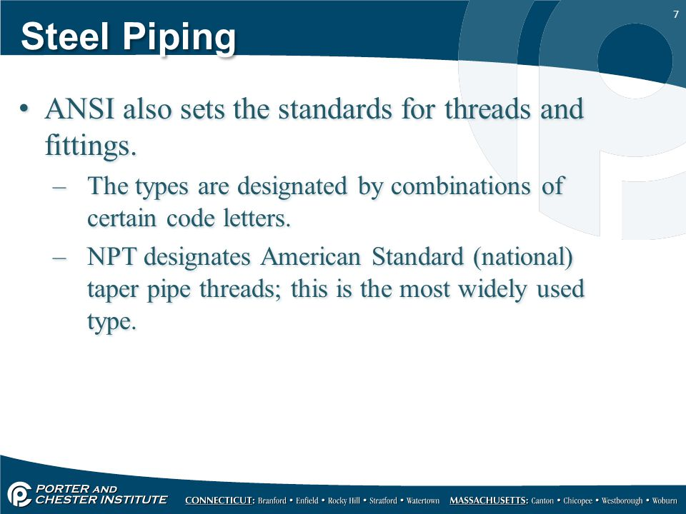 Steel Piping ANSI also sets the standards for threads and fittings.