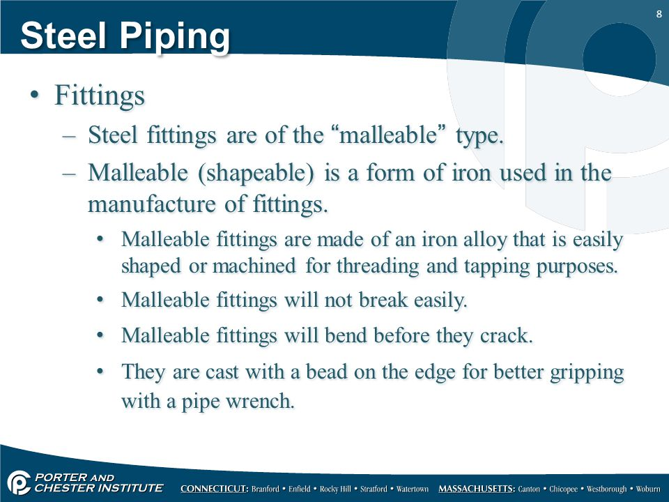 Steel Piping Fittings Steel fittings are of the malleable type.
