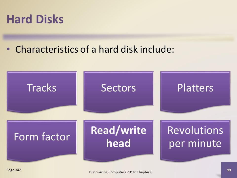 Hard Disks Characteristics of a hard disk include: Page 342