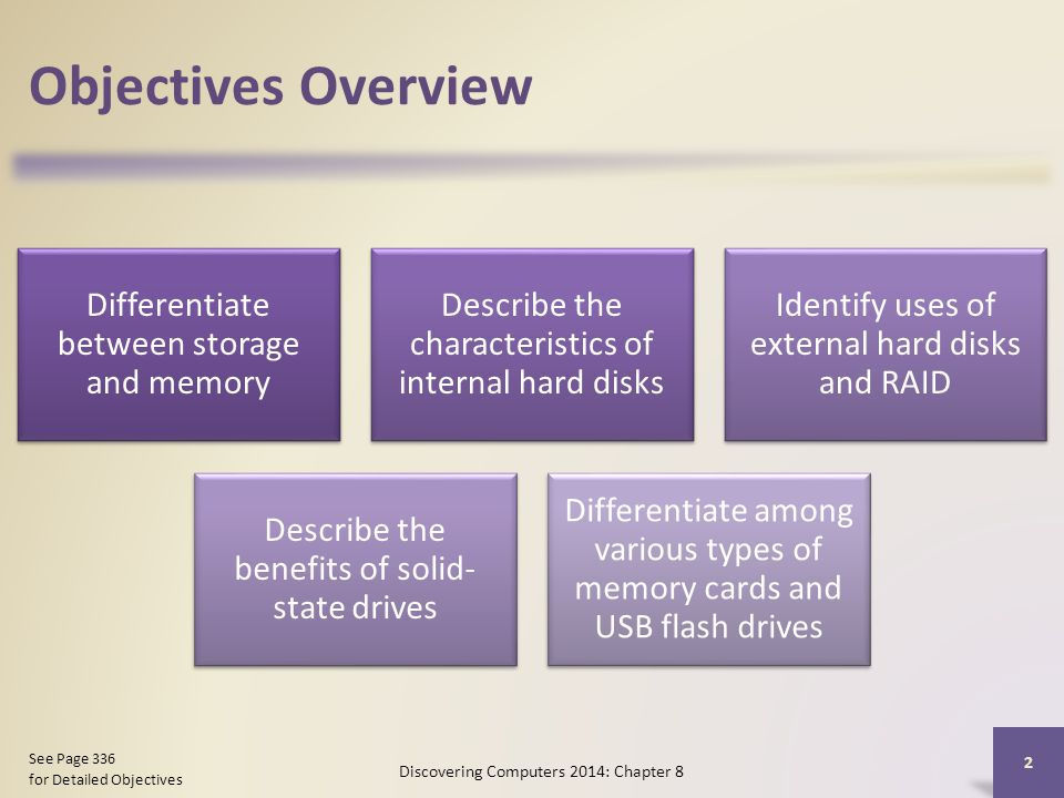 Objectives Overview Differentiate between storage and memory