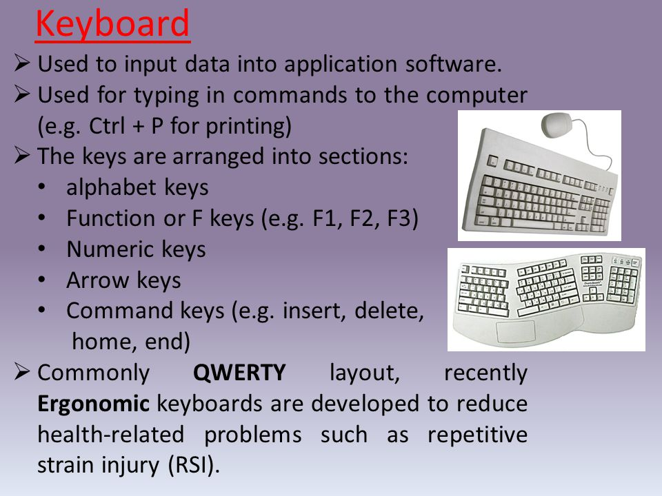 Keyboard Used to input data into application software.