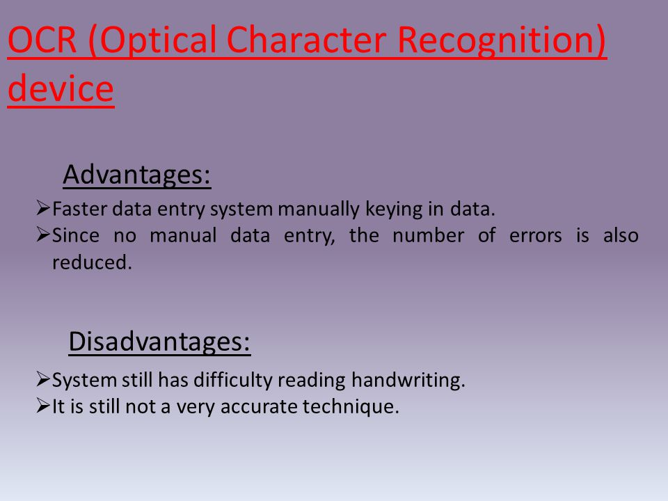 OCR (Optical Character Recognition) device