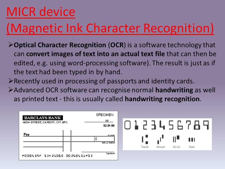 (Magnetic Ink Character Recognition)