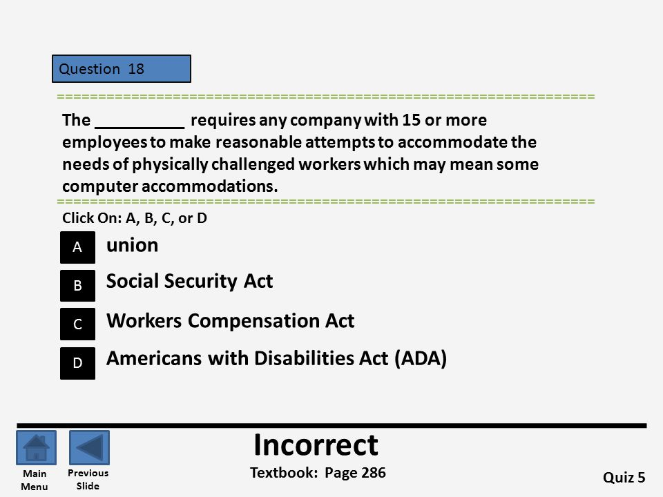 Incorrect union Social Security Act Workers Compensation Act