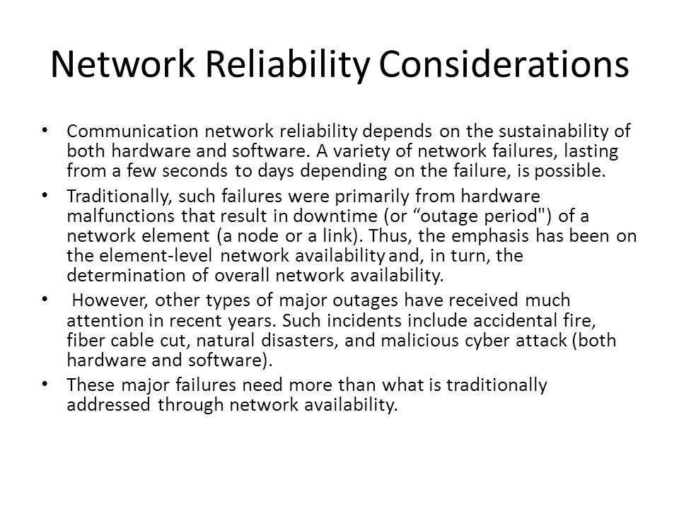 Network Reliability Considerations