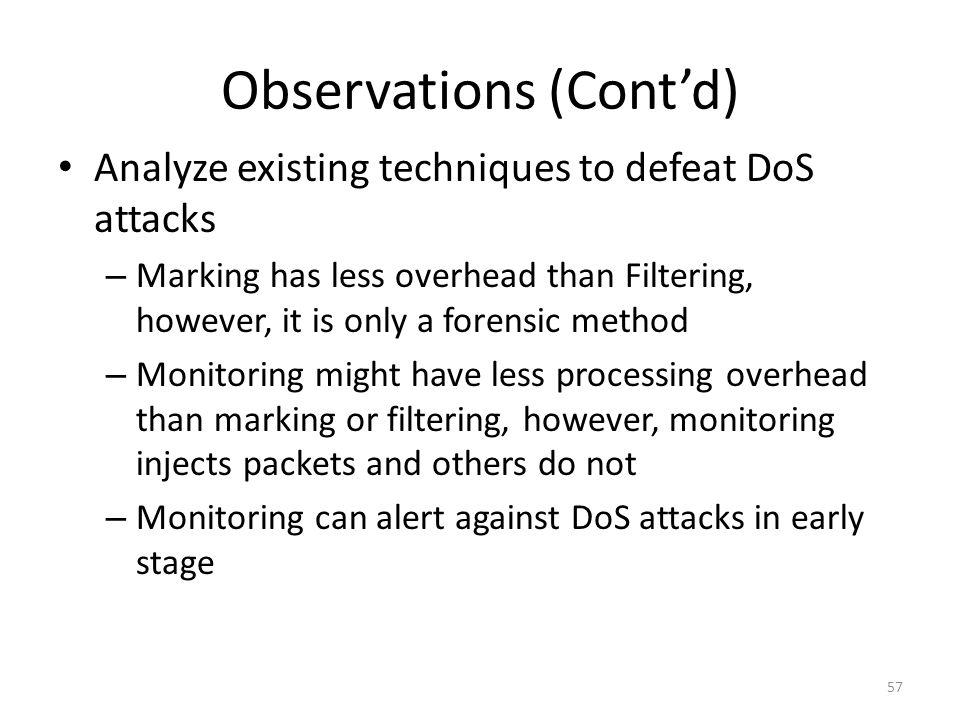 Observations (Cont'd)
