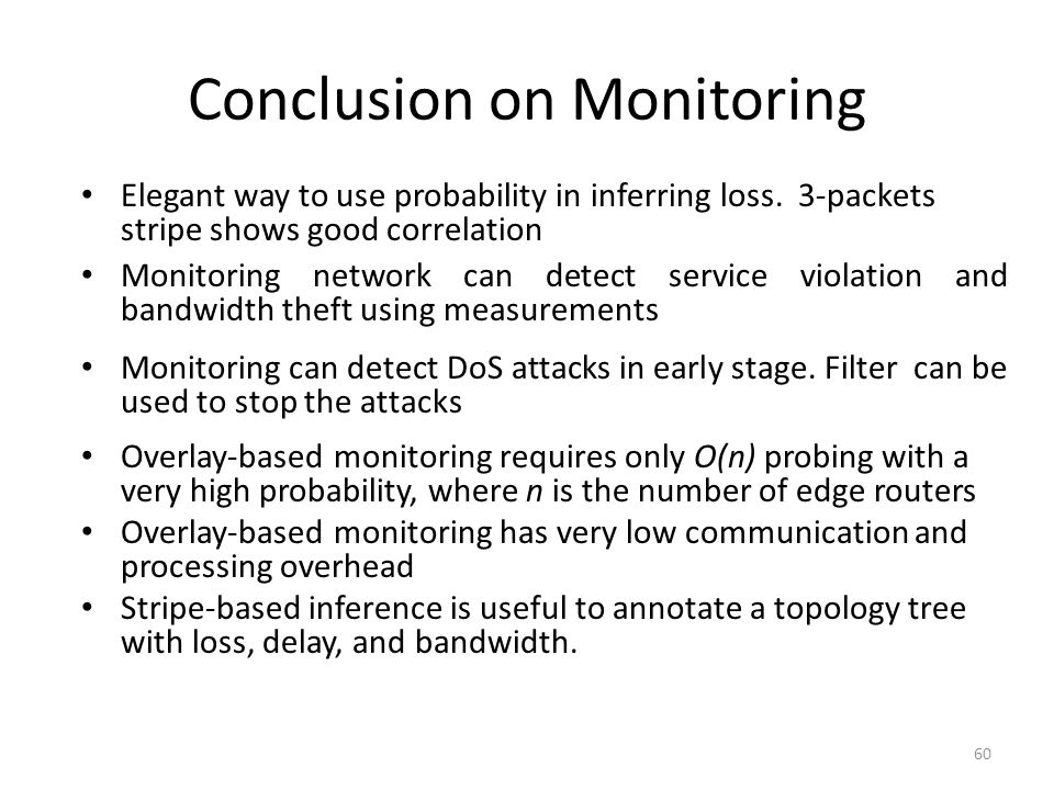 Conclusion on Monitoring