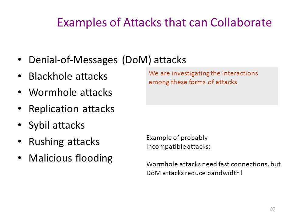 Examples of Attacks that can Collaborate