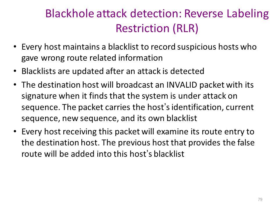 Blackhole attack detection: Reverse Labeling Restriction (RLR)