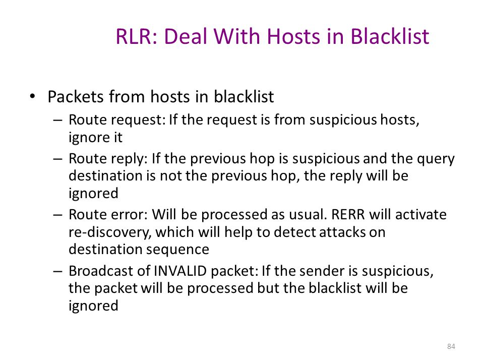 RLR: Deal With Hosts in Blacklist