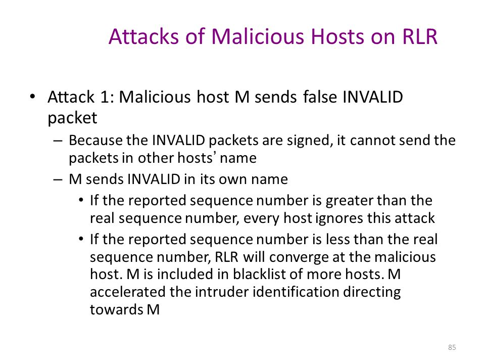 Attacks of Malicious Hosts on RLR