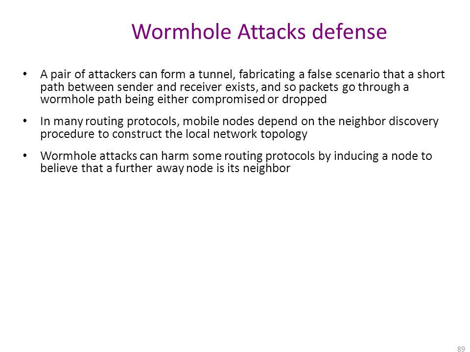 Wormhole Attacks defense