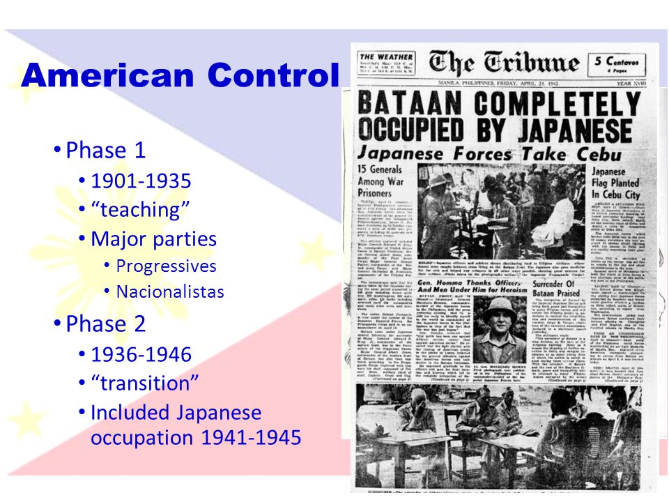 American Control Phase 1 Phase 2 1901-1935 teaching Major parties