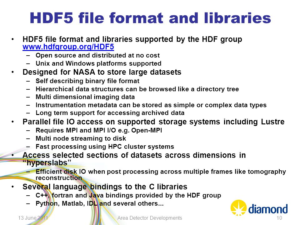 HDF5 file format and libraries