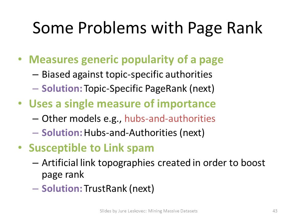Some Problems with Page Rank