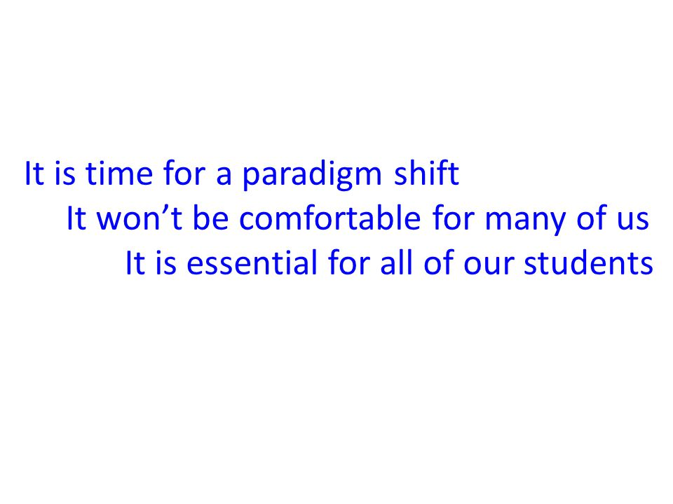 It is time for a paradigm shift