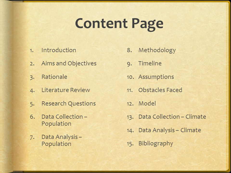 Content Page Introduction Aims and Objectives Rationale