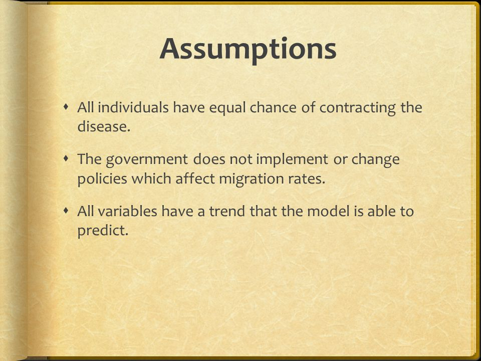 Assumptions All individuals have equal chance of contracting the disease.