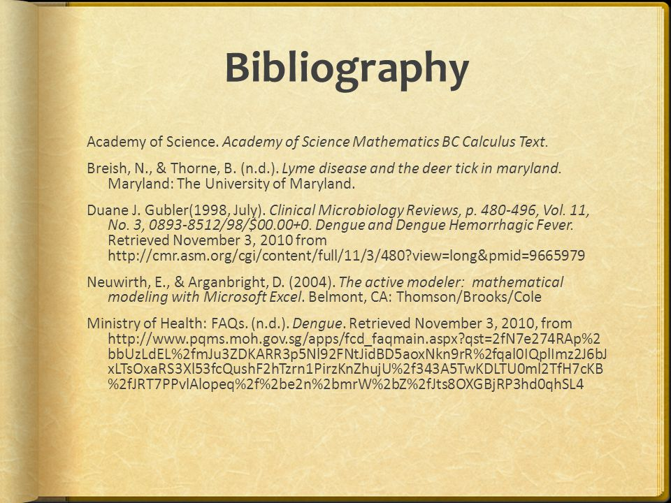 Bibliography Academy of Science. Academy of Science Mathematics BC Calculus Text.