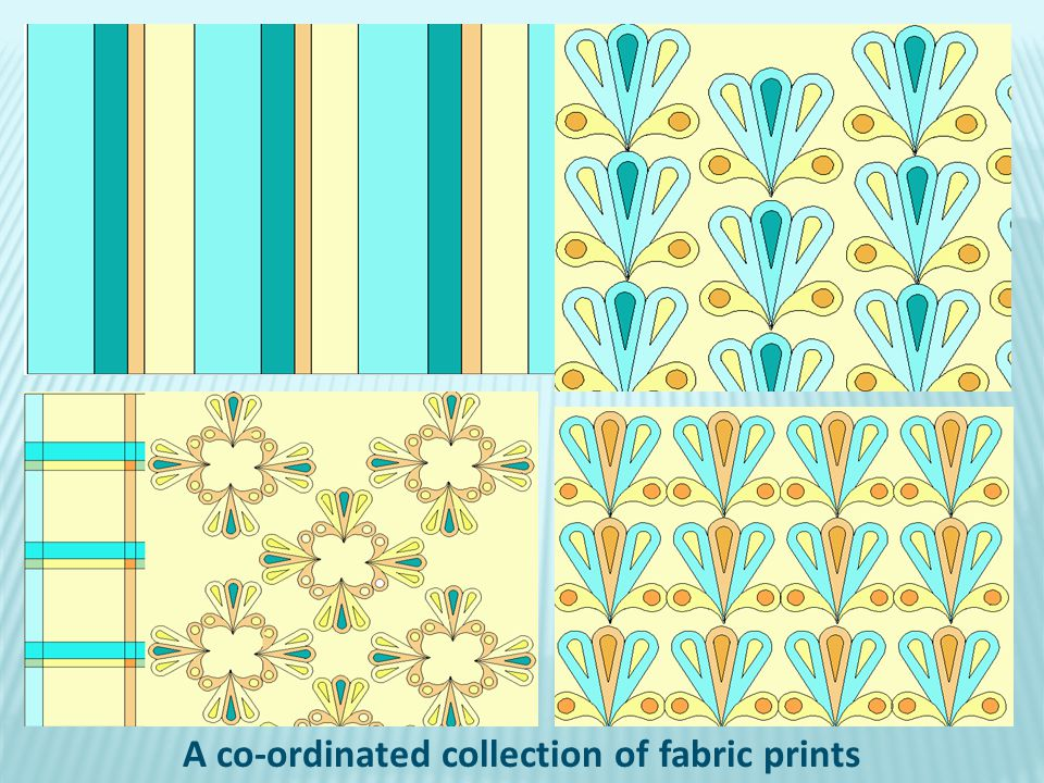 A co-ordinated collection of fabric prints