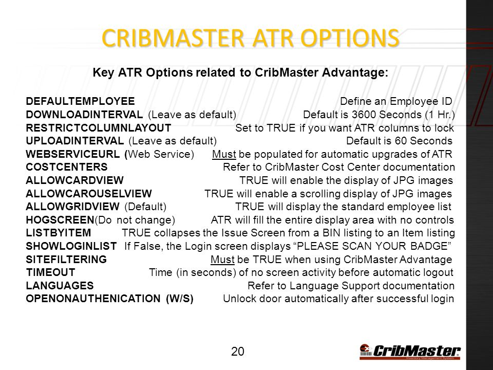 CribMaster ATR Options