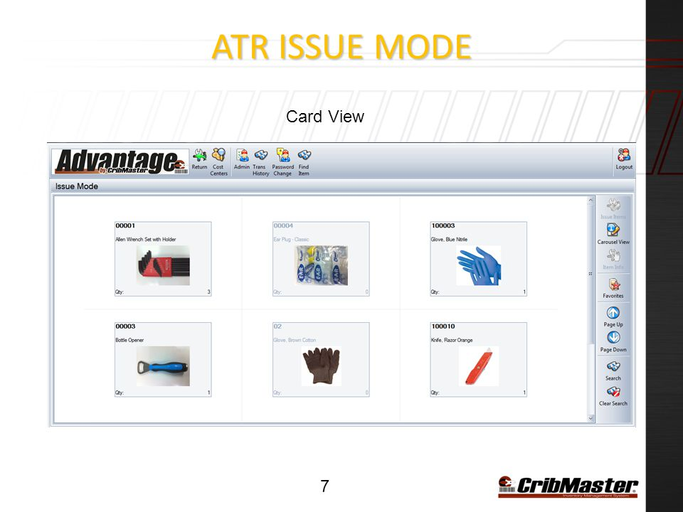 ATR ISSUE Mode Card View