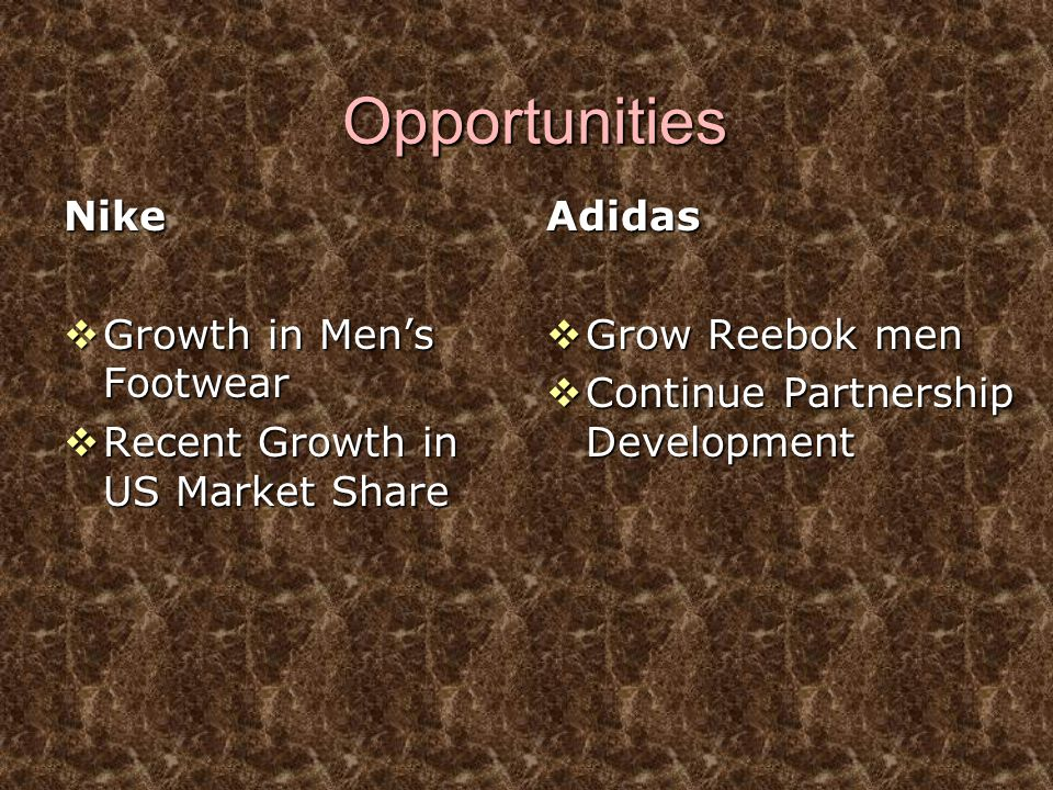 Opportunities Nike Growth in Men's Footwear