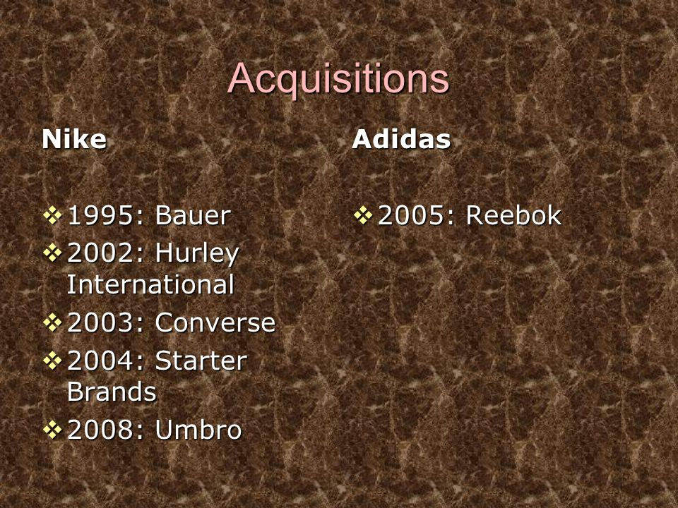 Acquisitions Nike 1995: Bauer 2002: Hurley International