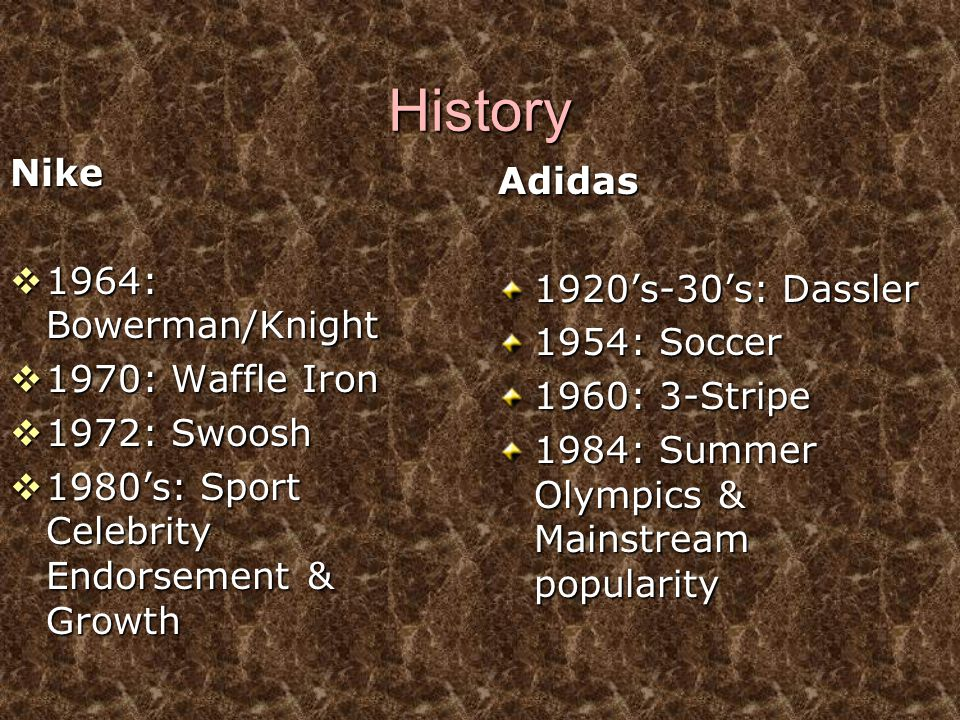 History Nike Adidas 1964: Bowerman/Knight 1920's-30's: Dassler