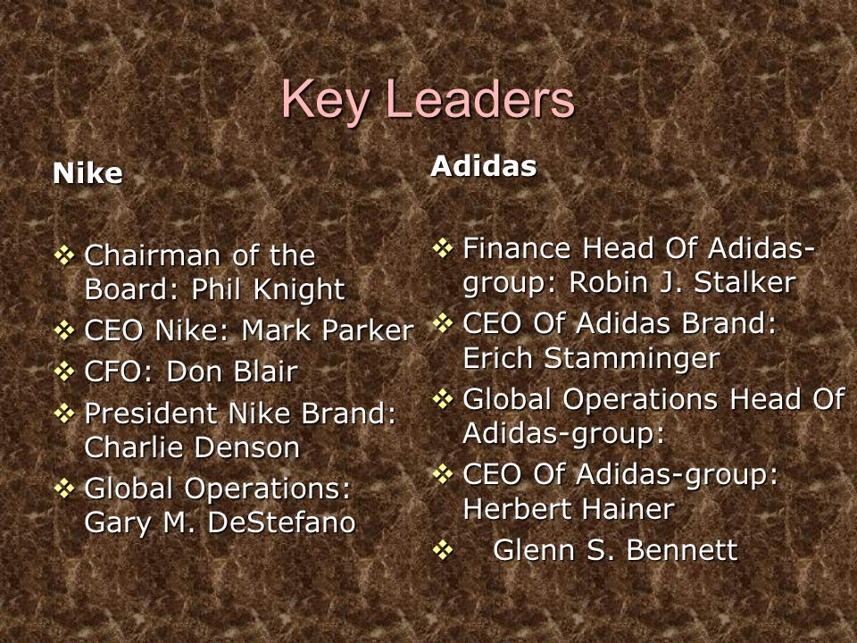 Key Leaders Adidas Nike Finance Head Of Adidas-group: Robin J. Stalker