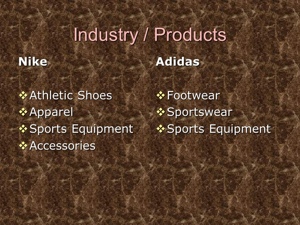 Industry / Products Nike Athletic Shoes Apparel Sports Equipment