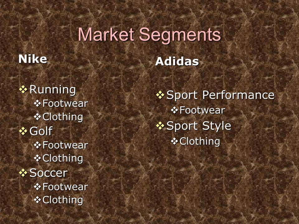 Market Segments Nike Adidas Running Sport Performance Sport Style Golf