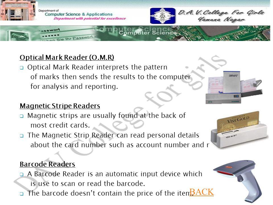 BACK Optical Mark Reader (O.M.R)