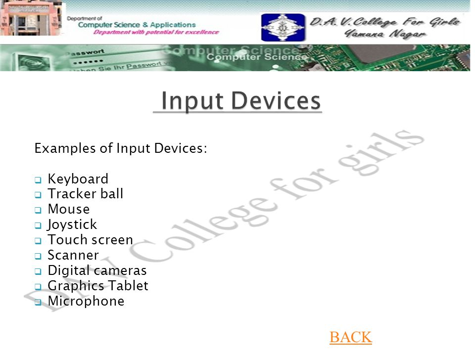 Input Devices BACK Examples of Input Devices: Keyboard Tracker ball