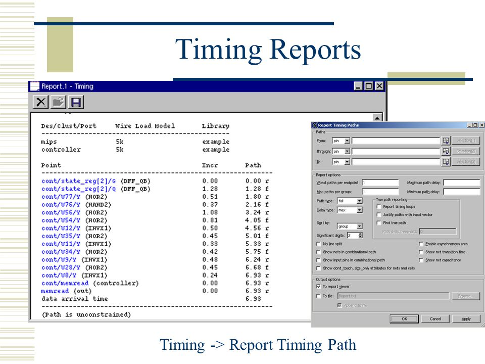 Timing -> Report Timing Path
