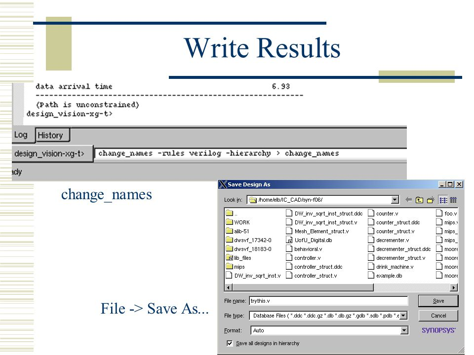 Write Results change_names File -> Save As...